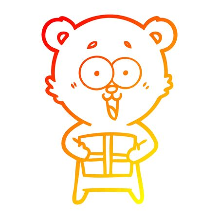 warm gradient line drawing of a laughing teddy bear with christmas present