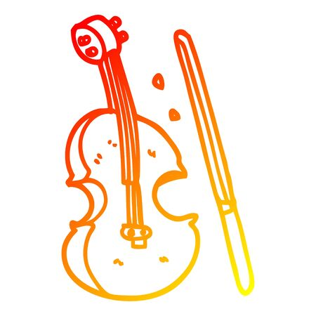warm gradient line drawing of a cartoon violin and bow Reklamní fotografie - 130507547