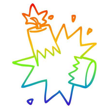 Dibujo de la línea de gradiente de arco iris de una dinamita de dibujos animados