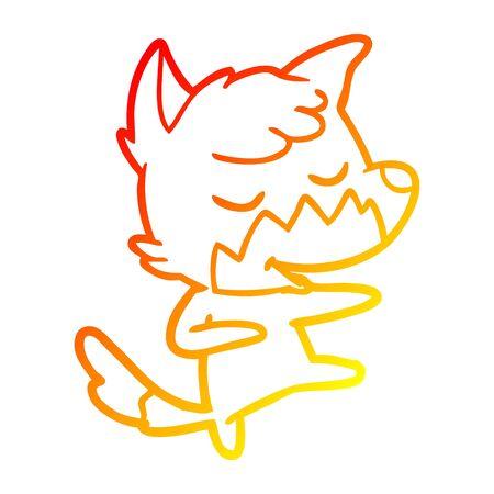 warm gradient line drawing of a friendly cartoon fox dancing