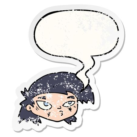 cartoon scratched up face with speech bubble distressed distressed old sticker