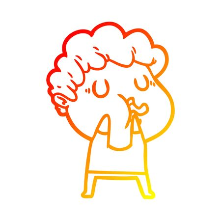 warm gradient line drawing of a cartoon man pulling face