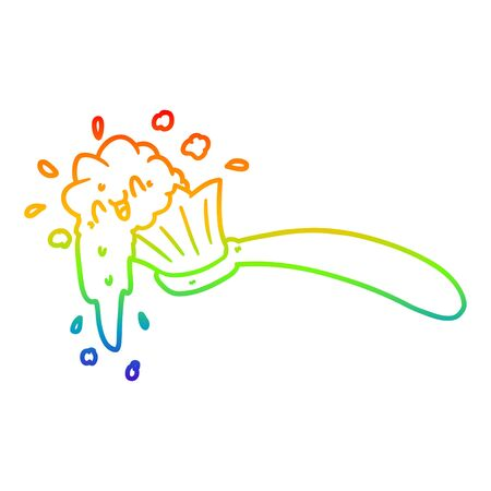 rainbow gradient line drawing of a cartoon toothbrush and toothpaste