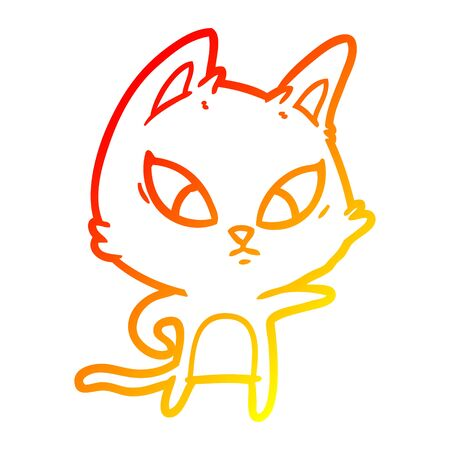 warm gradient line drawing of a confused cartoon cat Illustration