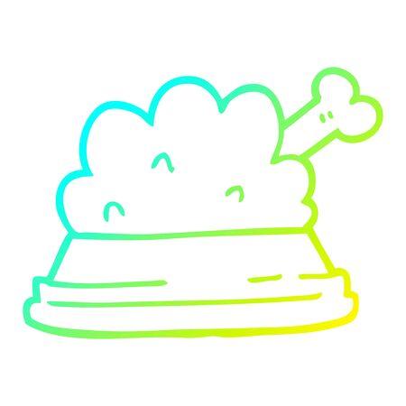 cold gradient line drawing of a cartoon pet food Stock Illustratie