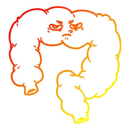 warm gradient line drawing of a cartoon angry colon