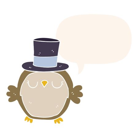 cartoon owl wearing top hat with speech bubble in retro style  イラスト・ベクター素材