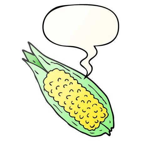 cartoon corn with speech bubble in smooth gradient style Ilustração