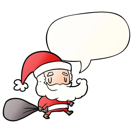 cartoon santa claus carrying sack of presents with speech bubble in smooth gradient style