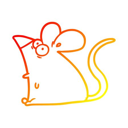 warm gradient line drawing of a cartoon frightened mouse