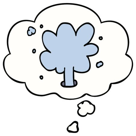 cartoon spouting water with thought bubble