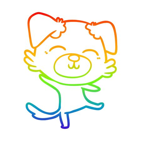 rainbow gradient line drawing of a cartoon dog doing a happy dance Illustration