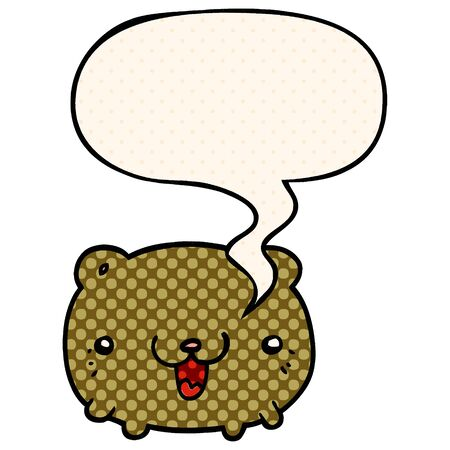 funny cartoon bear with speech bubble in comic book style