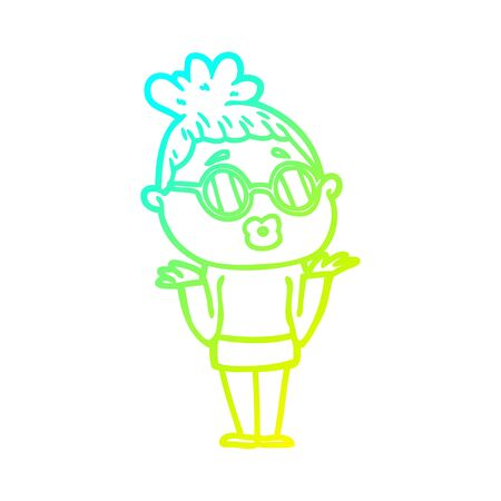 cold gradient line drawing of a cartoon confused woman wearing spectacles Foto de archivo - 130507945