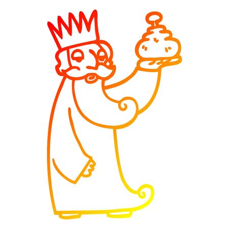 warm gradient line drawing of a one of the three wise men cartoon
