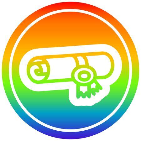 diploma certificate icon with rainbow gradient finish Archivio Fotografico - 130508014