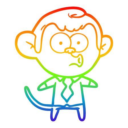 rainbow gradient line drawing of a cartoon office monkey 向量圖像