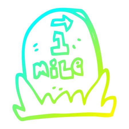 cold gradient line drawing of a cartoon mile marker