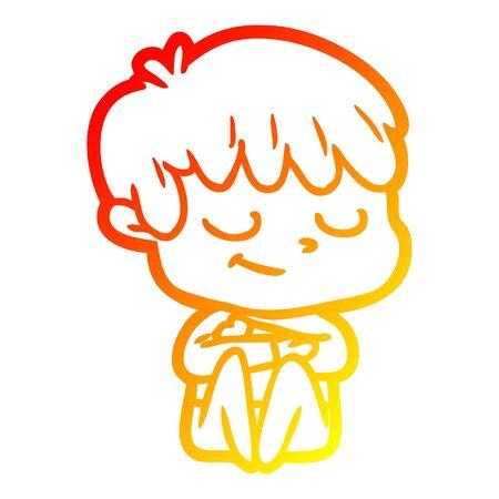 warm gradient line drawing of a cartoon happy boy
