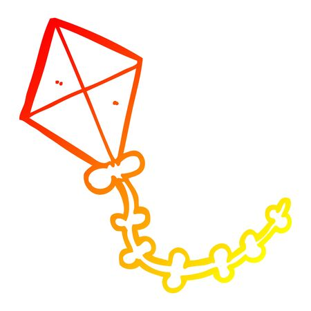 warm gradient line drawing of a cartoon kite
