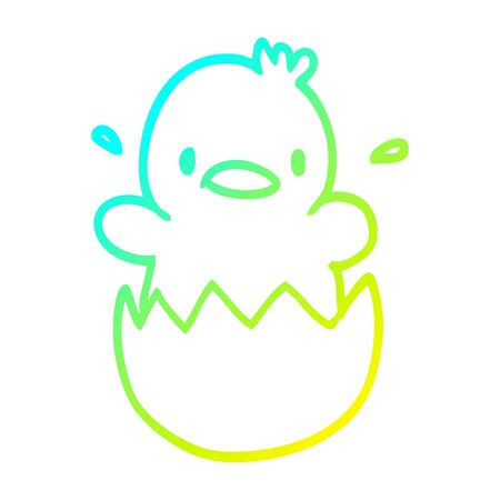 cold gradient line drawing of a cartoon baby duck Illusztráció
