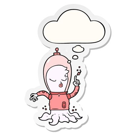 cute cartoon alien with thought bubble as a printed sticker Illustration