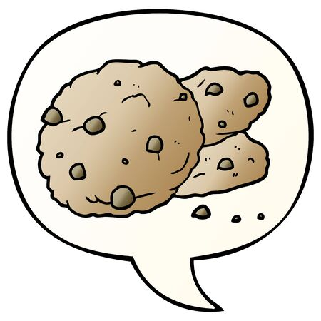 cartoon cookies with speech bubble in smooth gradient style