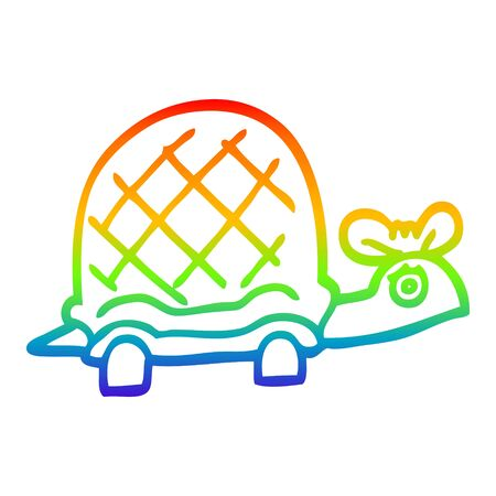 rainbow gradient line drawing of a cartoon funny tortoise