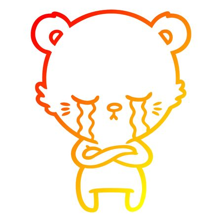 warm gradient line drawing of a crying cartoon bear with folded arms Illustration