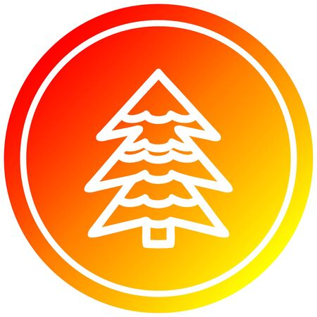 snowy tree circular icon with warm gradient finish