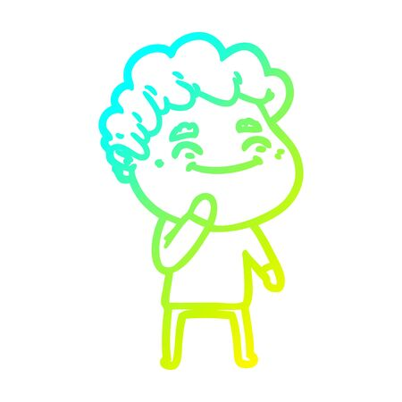 cold gradient line drawing of a cartoon friendly man