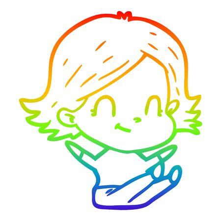 rainbow gradient line drawing of a cartoon friendly girl