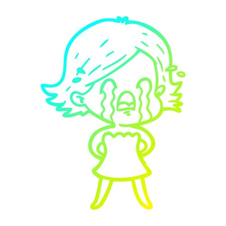 cold gradient line drawing of a cartoon woman crying