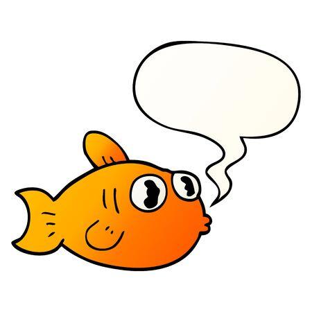 cartoon fish with speech bubble in smooth gradient style Ilustração