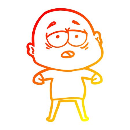 warm gradient line drawing of a cartoon tired bald man