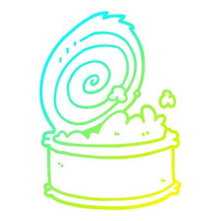 cold gradient line drawing of a cartoon canned fish