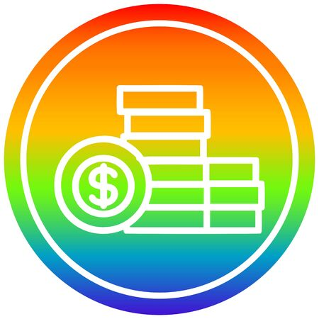 stacked money circular icon with rainbow gradient finish Illustration