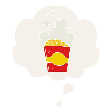 cartoon popcorn with thought bubble in retro style