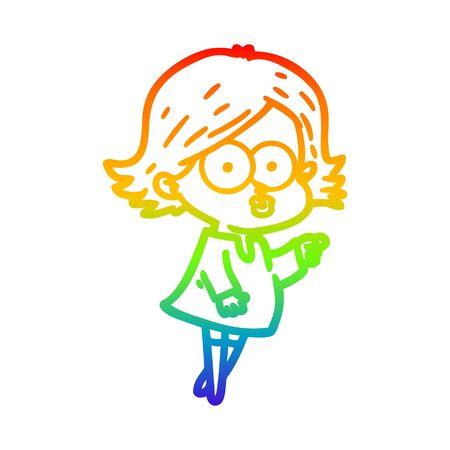 rainbow gradient line drawing of a cartoon girl pouting