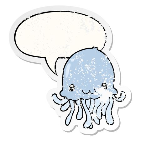 cartoon jellyfish with speech bubble distressed distressed old sticker