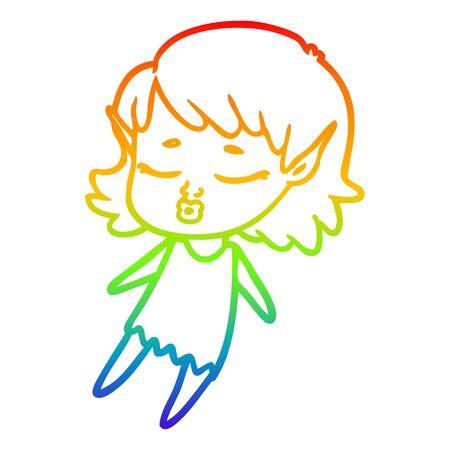 rainbow gradient line drawing of a pretty cartoon elf girl flying Ilustração