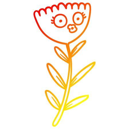 warm gradient line drawing of a cartoon flower dancing