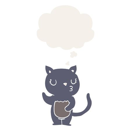 cute cartoon cat with thought bubble in retro style Ilustração
