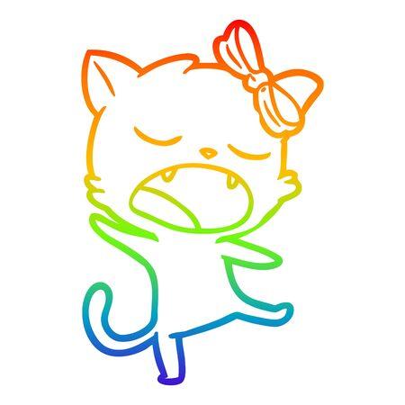 rainbow gradient line drawing of a cartoon singing cat