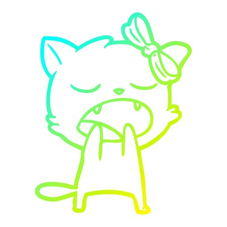 cold gradient line drawing of a cartoon yawning cat