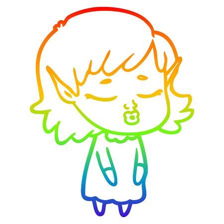 rainbow gradient line drawing of a pretty cartoon elf girl