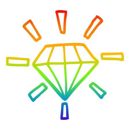 rainbow gradient line drawing of a cartoon tattoo diamond