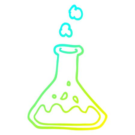 cold gradient line drawing of a cartoon chemicals in bottle