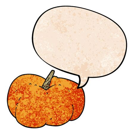 cartoon pumpkin squash with speech bubble in retro texture style