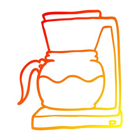 warm gradient line drawing of a cartoon coffee filter machine Ilustrace
